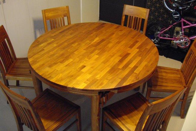 100%原木柚木圓餐桌